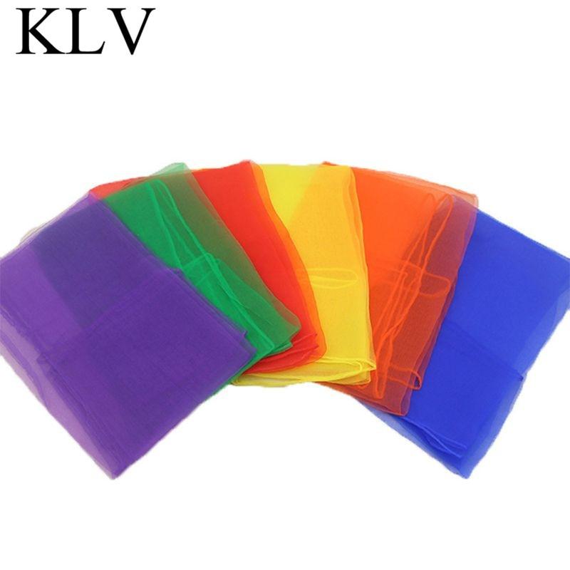 Pañuelos de gasa para malabares cuadrados para mujer y niña, 12 Uds., accesorios de baile y trucos de magia para actuaciones en guarderías, pañuelo con movimiento de Color caramelo