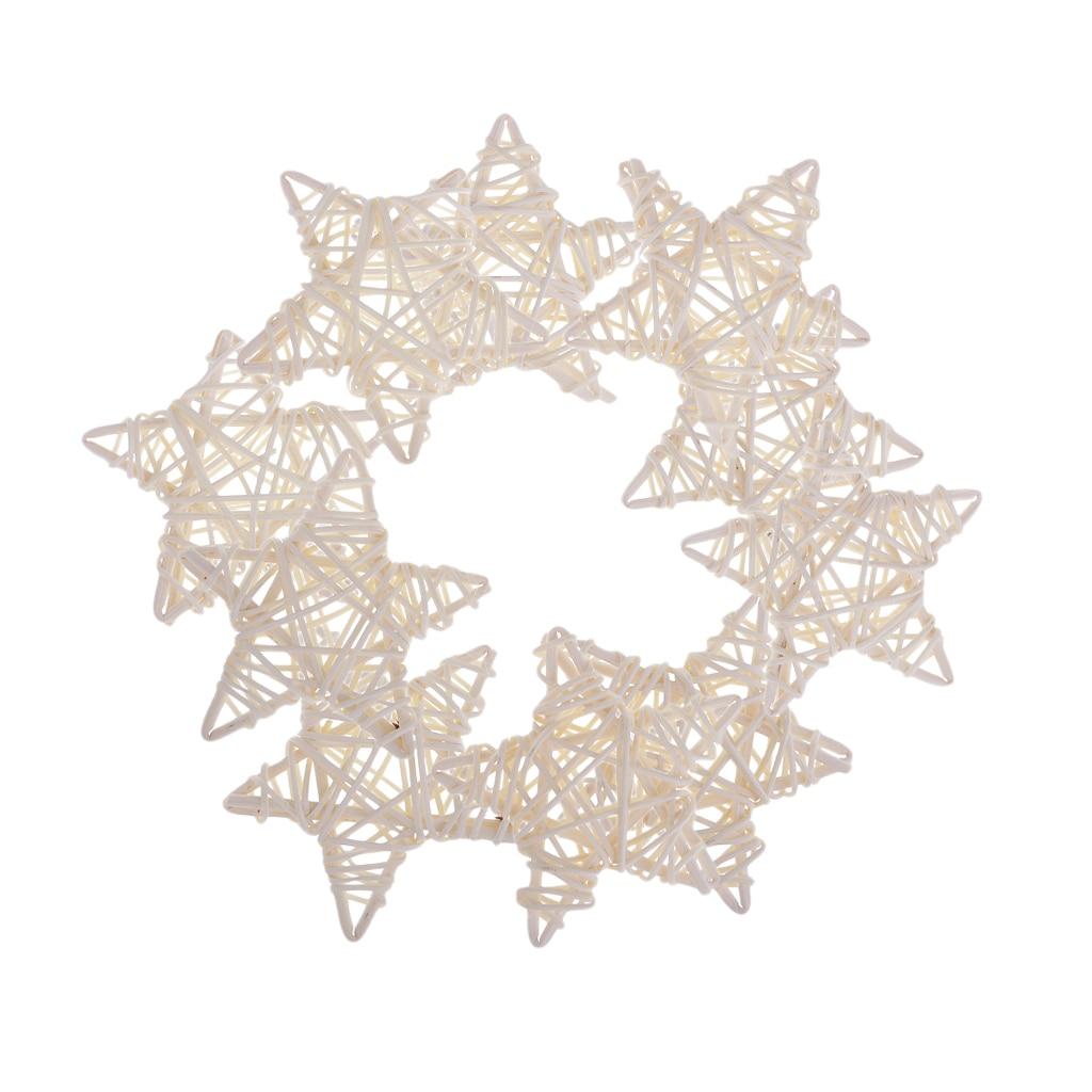 10Pcs Rustic Star Rattan Wicker Vine Ball for Wedding Party Home Decoration Christmas Xmas Ornaments DIY Craft 7cm - White