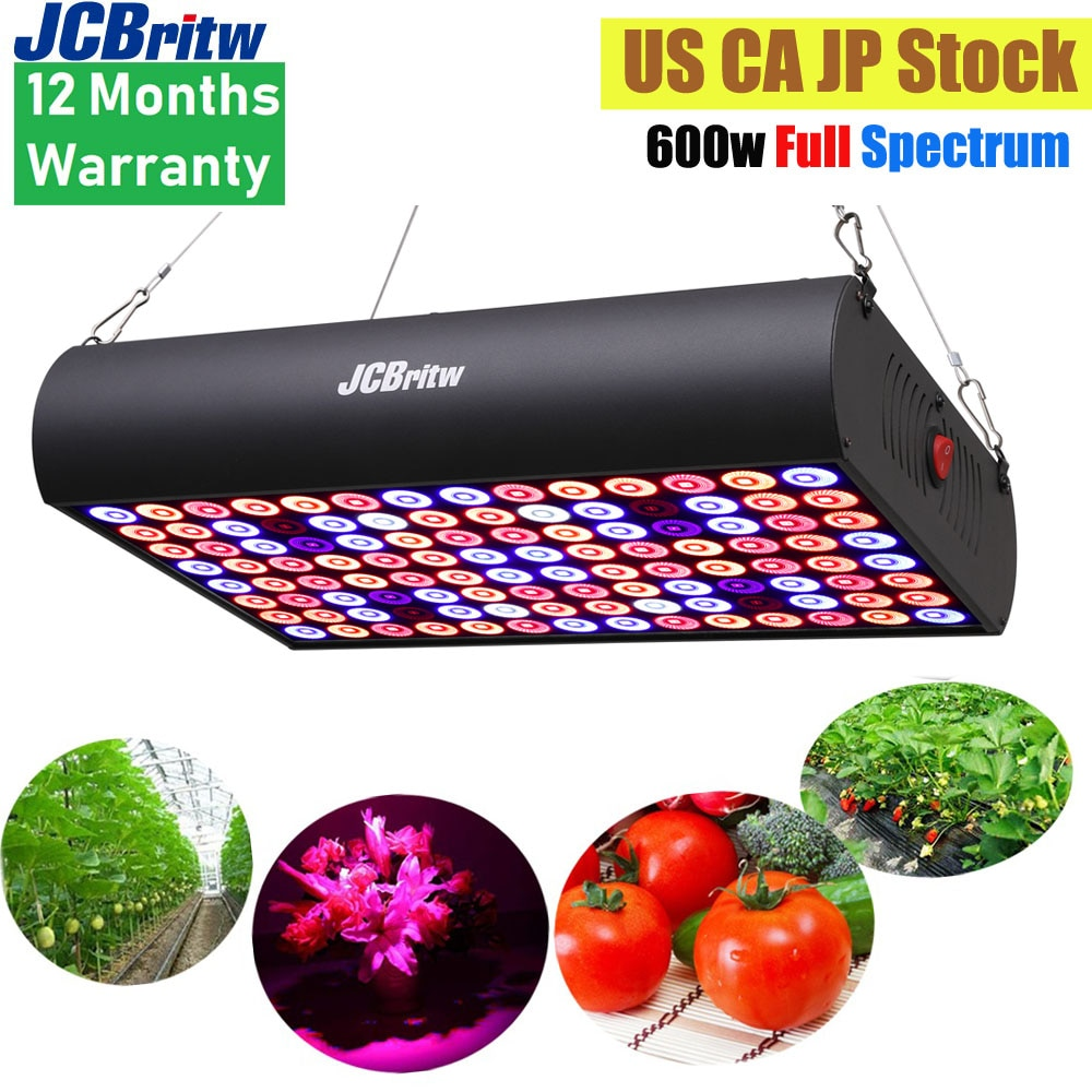 JCBritw 600W LED Grow Light Full Spectrum IR with Daisy Chain Lamp Panel for Indoor Plants Seedlings, Veg and Bloom