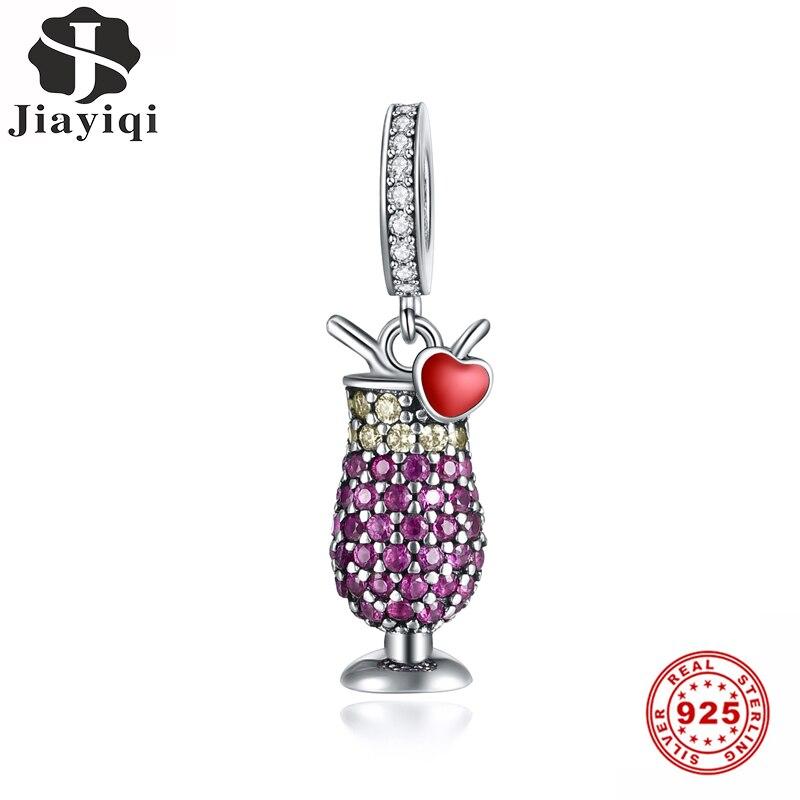 Jiayiqi חדש 925 סטרלינג כסף סגול קוקטייל זכוכית חרוזים קסמי Fit נשים מקורי שרשרת & צמיד DIY כסף 925 תכשיטים