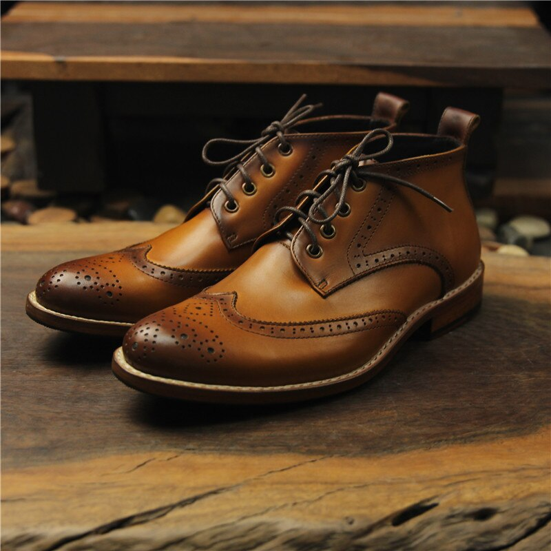 Sipriks ماركة جلد طبيعي فاخر أحذية من الرجال النمط البريطاني جوديير welted التمهيد جنتلمان البروغ الرجعية حذاء قصير زائد 46