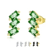 zemior exquisite earring for women s925 sterling silver inlay cubic zirconia lightning shape earrings three zigzag fine jewelry
