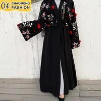 2021 new muslim fashion 3d floral kimono kaftan abayas for women african dresses dubai robe cardigan with hijab a set