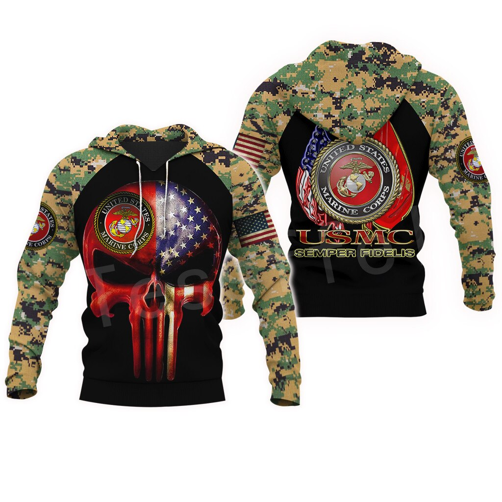 Tessffel America Marine Camo Skull Pullover Soldier Army NewFashion Harajuku 3DPrint Zip/Hoodie/Sweatshirt/Jacket/Men/Women B-12