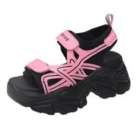 women platform sandals hook loop summer shoes woman 2021 new round toe high heel sandal womens mesh upper breathable sandals