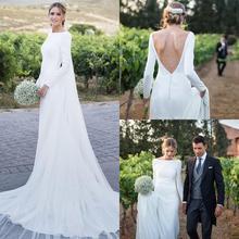 2020 nouveau pays robes de mariée manches longues Bateau cou dos nu balayage Train bohême mariage robes de mariée avec boutons