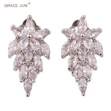 GRACE JUN nouveau luxe cuivre AAA cubique Zircon fleur feuille pince sur boucles doreilles pour femmes hypoallergénique pas de boucles doreilles percées