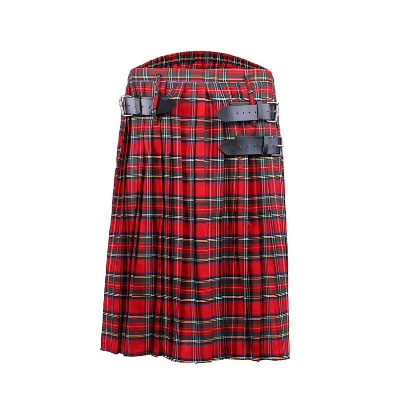 Dihope 2020 nova masculina kilt tradicional xadrez cinto plissado corrente bilateral marrom gothic punk scottish tartan calças saias