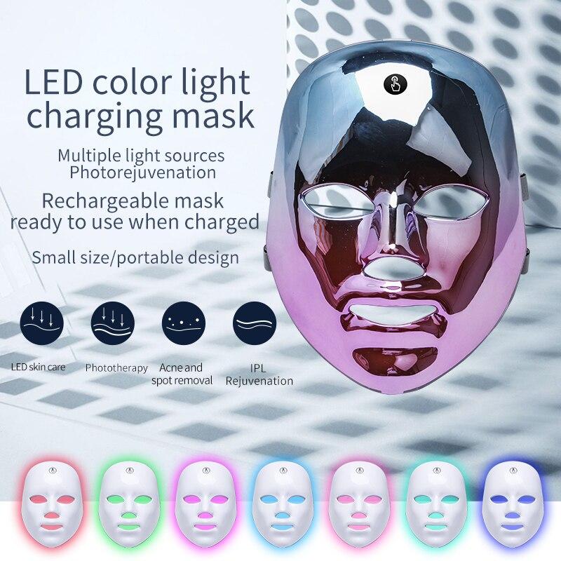 7 ألوان LED قناع الوجه Usb تهمة الفوتون العلاج تجديد الجلد مكافحة حب الشباب إزالة التجاعيد العناية بالبشرة قناع الجلد اشراق