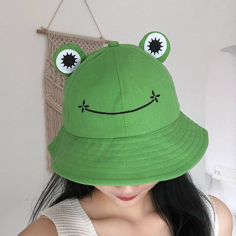 Sombrero de pescador con diseno de rana para mujer, gorro de pescador con estampado de rana, estilo panama, liso, perfecto para