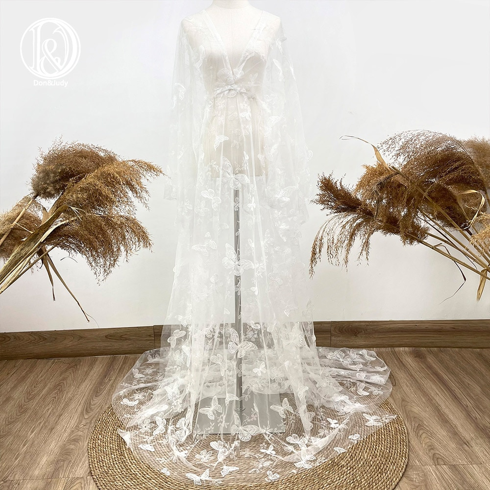 Don&Judy White Butterfly Embroidery Tulle Maternity Dress Prom Party Evening Gown Dresses For Photoshoot Photography Prop