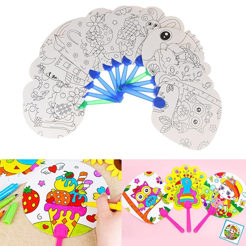 DIY Coloring Hand Fan Kids Cartoon Hand Fan Paper Art Craft Material For Kindergarten Preschool Draw