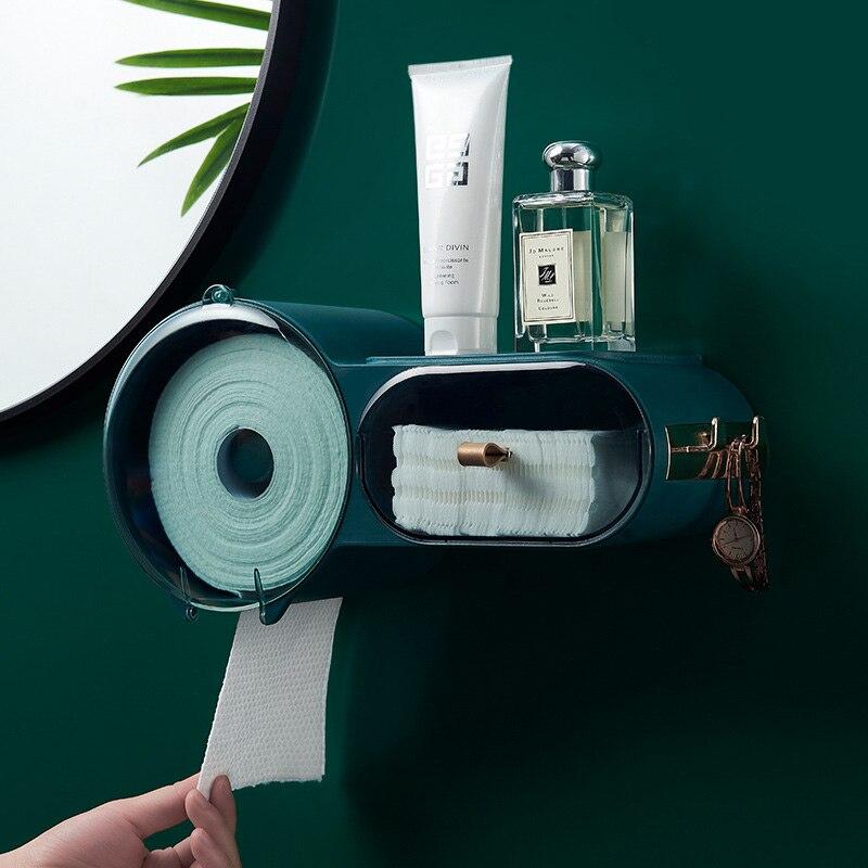Caixa de Tecido Armazenamento do Banheiro Punchfree Selfesparadrapo Impermeável Wallmounted Higiênico Capa Multifuncional Organizador Suporte Papel