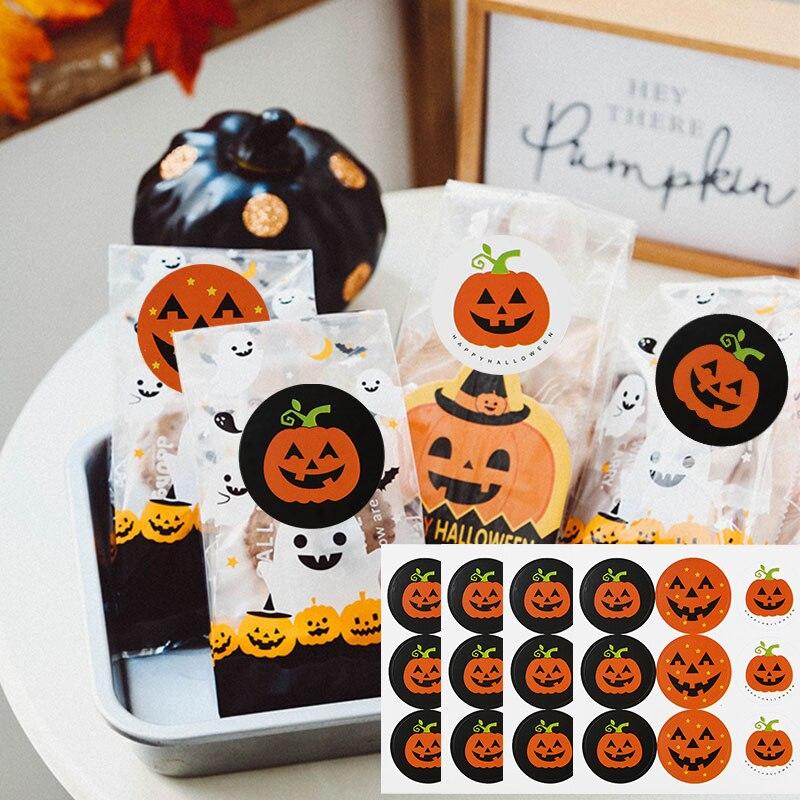 120 Uds. Pegatinas de formas de cráneo calabaza, estilos de Halloween, feliz Halloween, etiqueta para paquete de regalo, suministros de Material, pegatinas de sellado