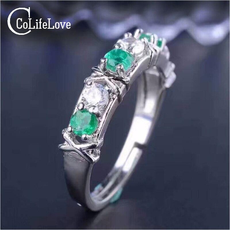 خاتم من الفضة الإسترليني والزمرد للنساء ، خاتم الزواج ، الزمرد ، الأحجار الكريمة الطبيعية ، لا تشوبها شائبة ، 3 مللي متر