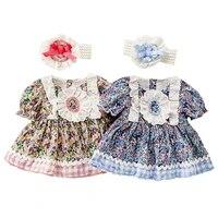 2021 new lolita floral princess dress short sleeve velvet baby romper baby girl clothes for newborns babies accessories newborn