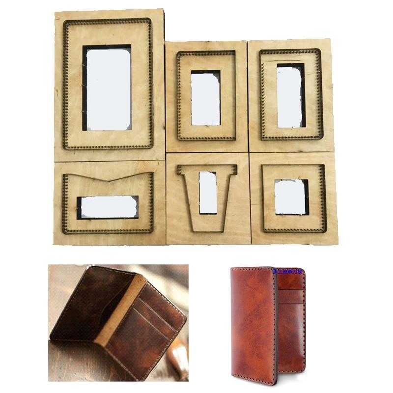 Japan Steel Blade DIY Leather Craft Wooden Die Shape Wallet Knife Mould Template Hand Punch Tool Set Card Holder Making Kit