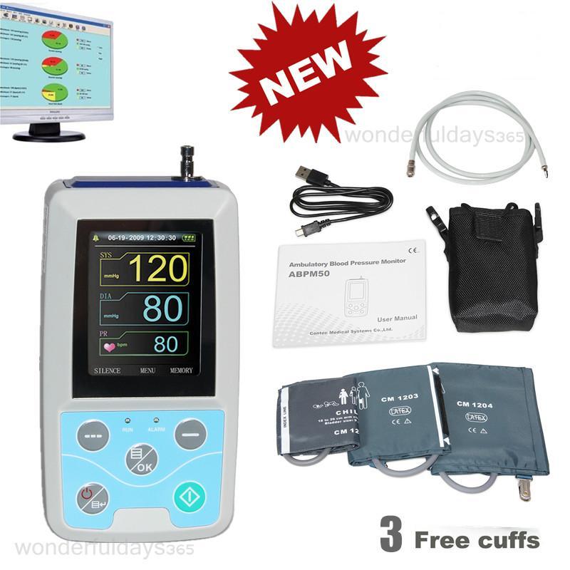 CONTEC ABPM50 tensiomètre ambulatoire, Holter NIBP, 3 manchettes