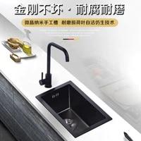 304 stainless steel handmade sink black single slot bar balcony mini small kitchen sink basin undermount stainless sink