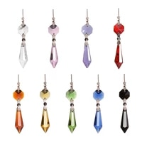 5pcs high quality crystal waterdrop hanging pendants chandeliers curtain accessories home decor glass living memory locket diy