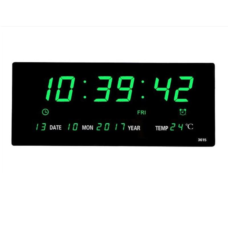 Большие электронные настенные часы, будильник, ежечасный сигнал, функция календаря, отображение температуры, настольные часы с вилкой, цифр...