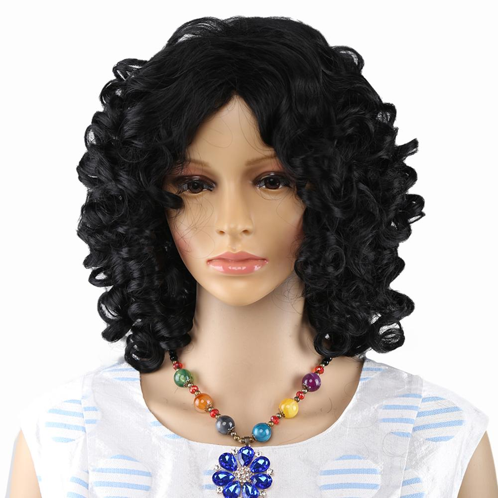 Amir Short Afro Kinky Curly Wigs For American African Women Black Synthetic Fake Hair Finger Wave Mommy Wig Cosplay