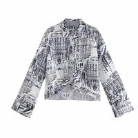 ladies 2021 fashion bow decoration city print short blouse short sleeve shirt streetwear