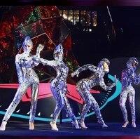 mirror man lens jumpsuit handmake nightclub sequins snake head gogo costumes stage jazz dance modern dance costume women gifts