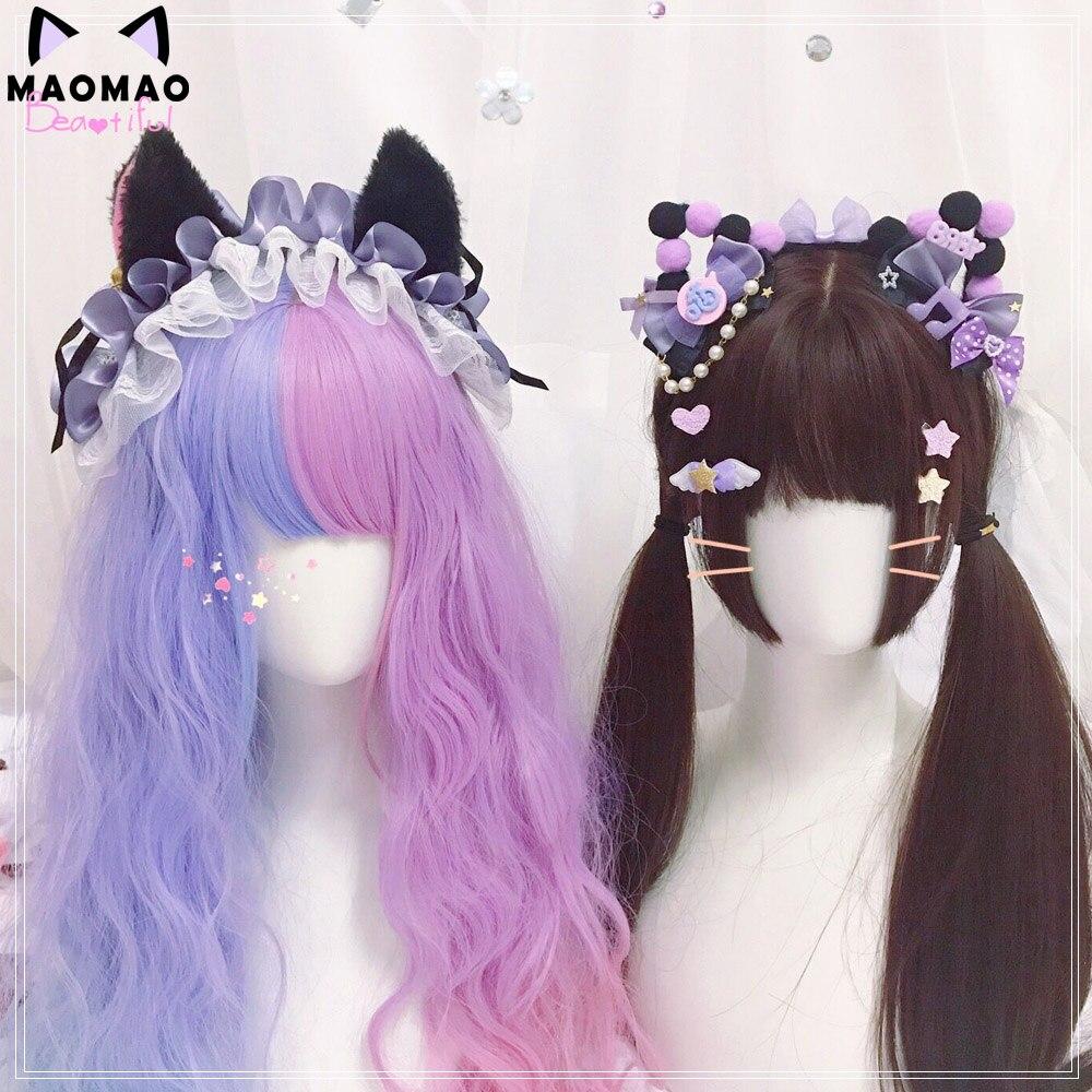 Lolita doce preto roxo gato orelhas de cabelo hoop bonito gato preto nebulosa hairband lo niang headdress handwork enfeites de cabelo cosplay