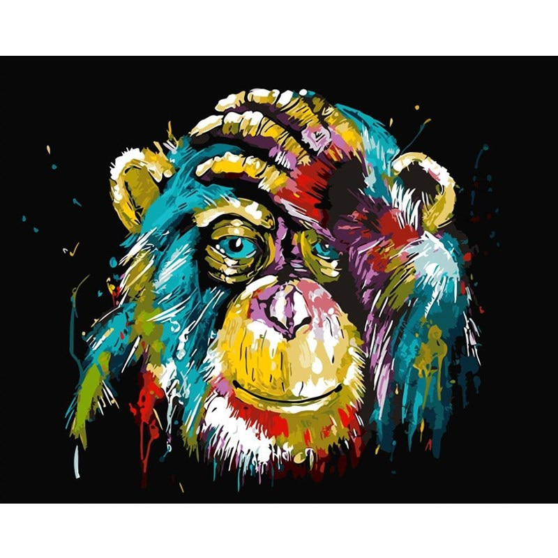 Orangutan Animals DIY Oil diy  Paint By Number Calligraphy Painting Acrylic Painting by number On Canvas For Home Decor 40x50cm