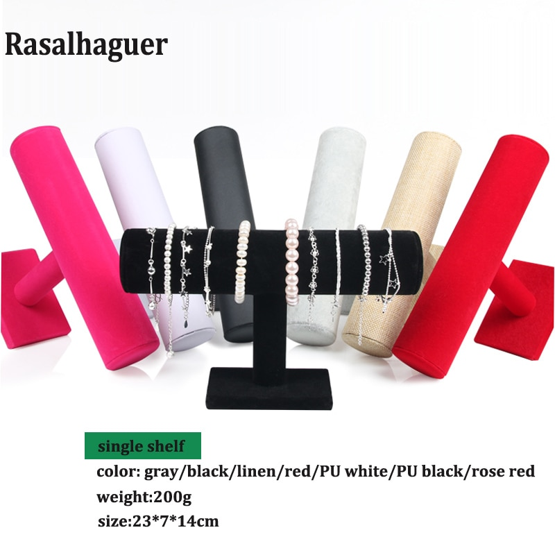 Various Color Velvet PU Bracelet Jewelry Display Holder Jewellery Display Stand Rack Packgaing T-Bar Bracelet Chain Watch Holder fashion jewelry display black velvet leather t bar jewelry rack organizer hard stand holder for bracelet chain necklace watch