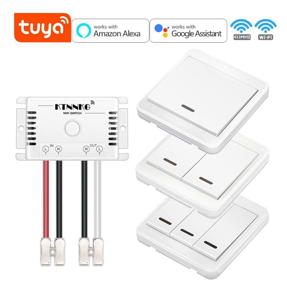 Smart life-kit tuya, 433Mhz, AC 90-250V, receptor de relé con botón de control remoto inalámbrico montado en la pared, con módulo TUYA WIFI