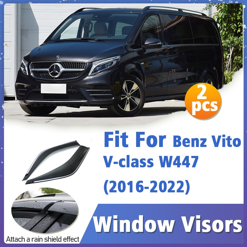 Window Visors Guard for Benz Vito V-class W447 2016-2022 Cover Trim Awnings Shelters Protection Guard Deflector Rain Rhield 2pcs