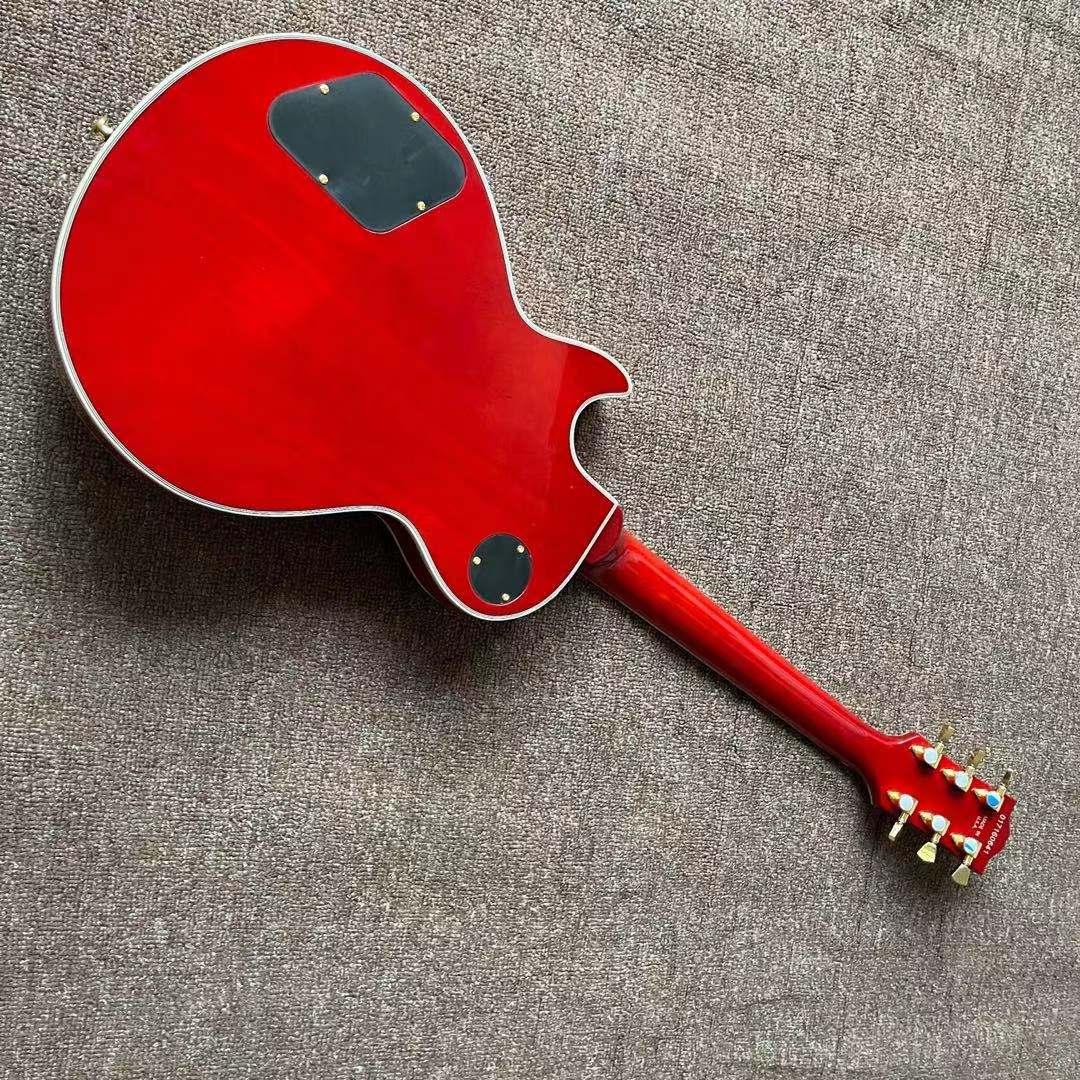 Custom Electric Guitar.Sunburs color Tiger flame maple top gitaar.high quality pickups.mahogany body.handmade 6 stings guitarra. enlarge
