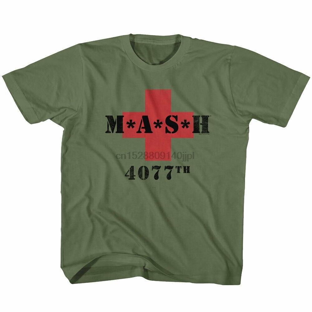 Mash juventude meninos crianças manga curta camiseta militar verde mash 4077