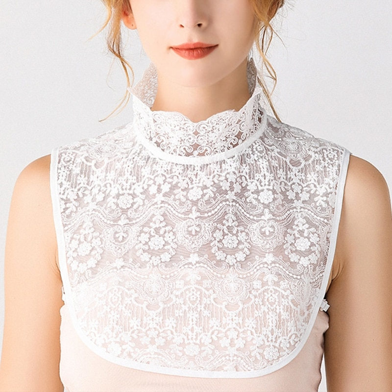 Women Ruffles Turtleneck Decorative False Fake Collar Sheer Floral Lace Curved Hem Detachable Half Shirt Dickey Blouse v placket curved dip hem blouse