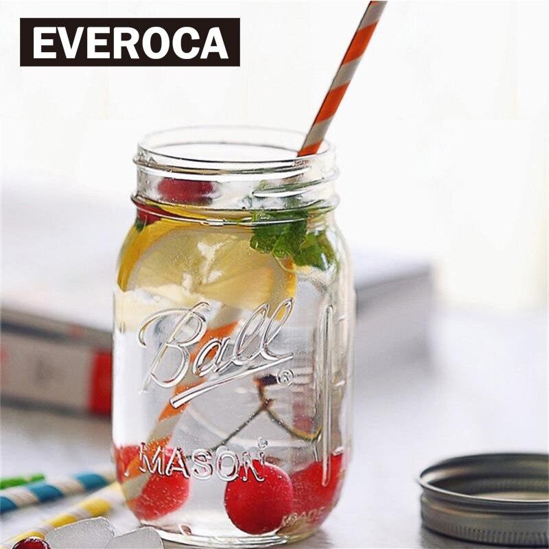 מייסון צנצנת עם מכסים זכוכית בקבוק פירות מותקן קר לשתות עירוי מים בקבוקי נירוסטה קש אחסון