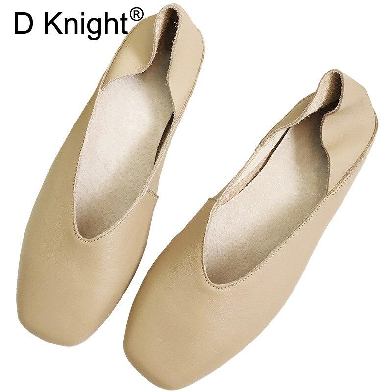 ¡Primavera otoño 2020! Nuevos zapatos planos coreanos de cuero genuino para mujer, zapatos planos con punta cuadrada y boca baja para mujer