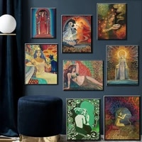 nordic canvas painting posters printed pagan mythology psychedelic gypsy goddess pictures home decoration living room modular