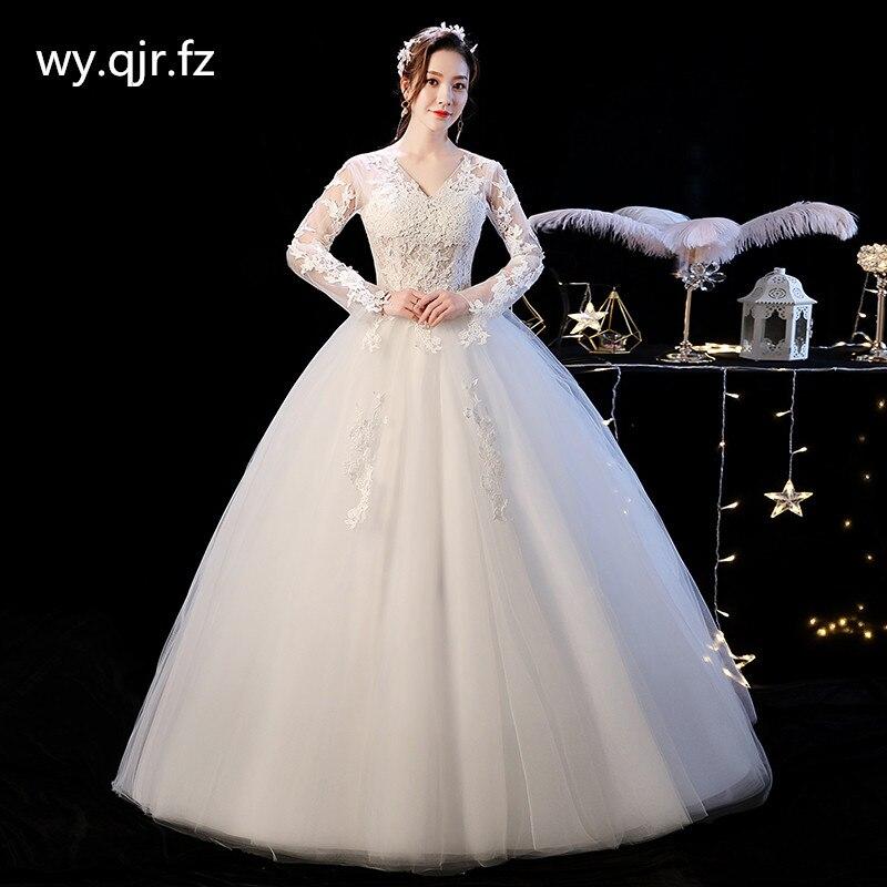 XXN-092 # الزفاف فستان الزفاف المطرزة الدانتيل على صافي الدانتيل يصل كم طويل الخامس الرقبة الكرة ثوب مخصص حجم التوصيل المجاني بالجملة