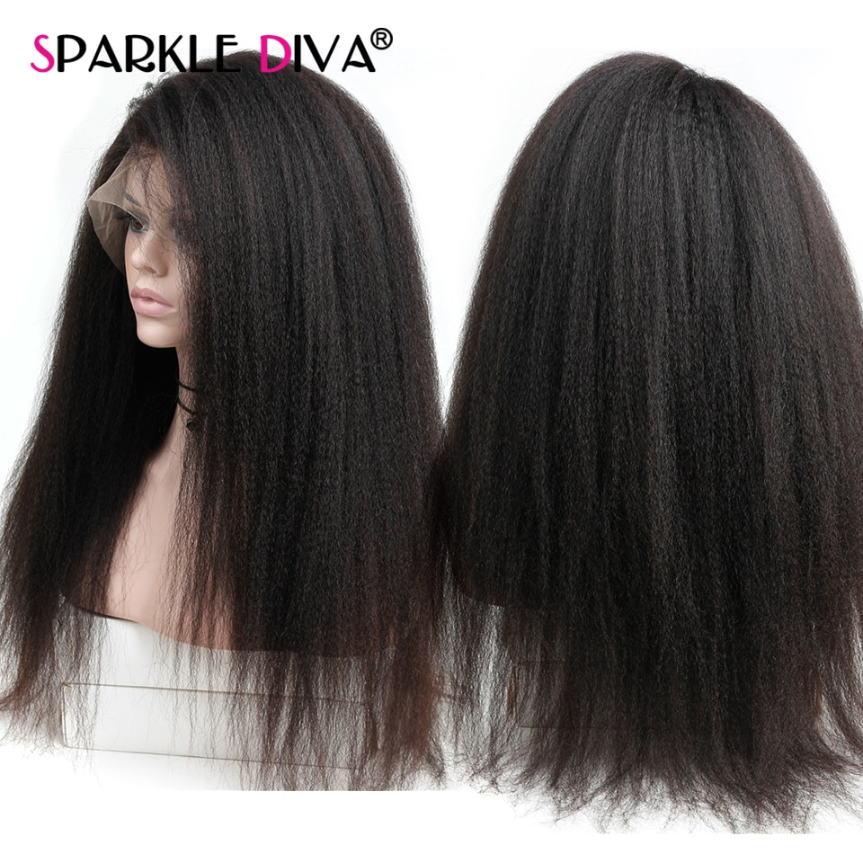 Kinky Straight Lace Front Human Wig Human Brazilain Remy Hair 180% Density Transparent Part Lace Hum