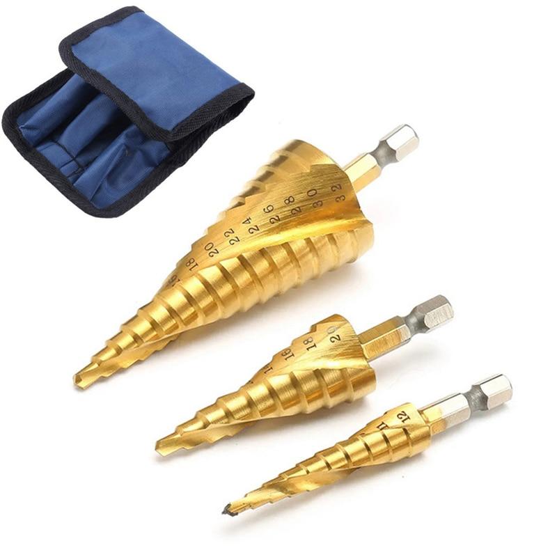 3/4pcs Titanium Drill Bit HSS 4-12 4-20 4-32 Drilling Power Tools Metal Hex Spiral High Speed Steel Wood Hole Cutter Cone Drill