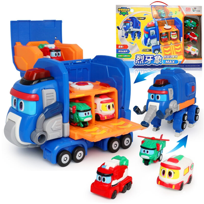 2020 Transformation Toy Gogo Dino Transformed Elephant Rescue Base with Sound Transformation Elephant Rescue Car Children Toy