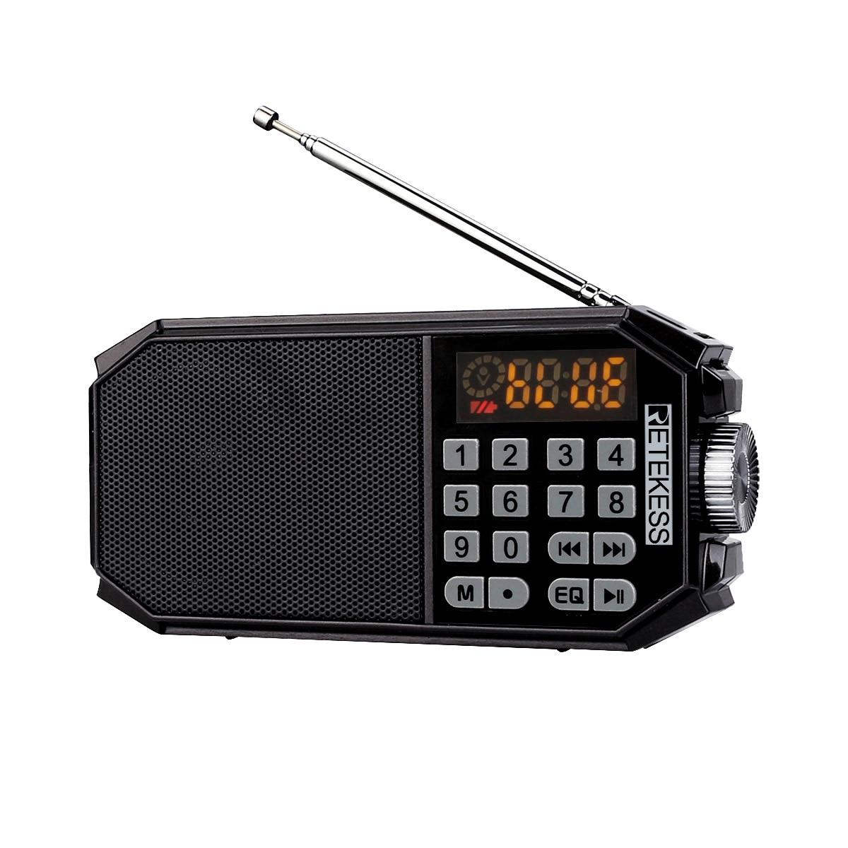 RETEKESS TR610 FM Radio bluetooth reproductor de música bluetooth llamadas u-disk TF tarjeta de grabación LED pantalla Digital integrado EQ