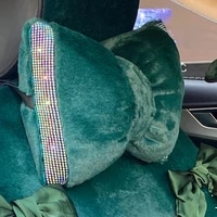 plush hot drilling car lumbar cushion bowknot auto head support headrest pillow soft lumbar support pillow lumbar support pad