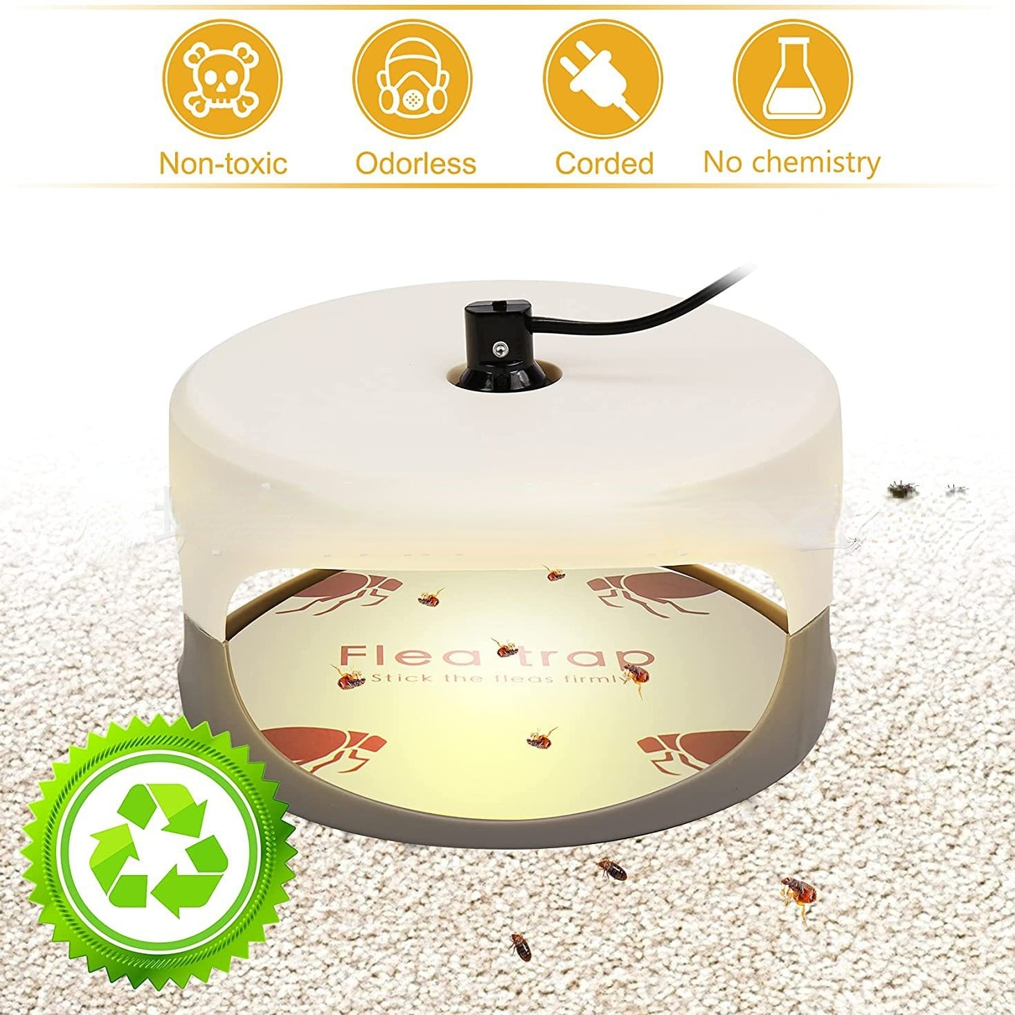 Flea Trap Pet Household Bug Flea Killer Odorless Cleaner For Carpet Bed Cloth Lamp Pesticidefree USB Electric Sticky Trap