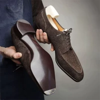 new men fashion trend business casual party dress shoes handmade brown pu retro cracked wingtip lace classic oxford shoes 7kg520