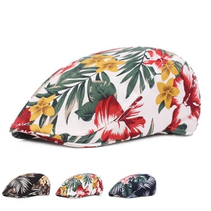 Flower Print Casual Golf Caps Vintage Berets Fashion Hat Novelty Outdoor Summer Vacation Hats 2021 Sun-Protection Hats Dropship