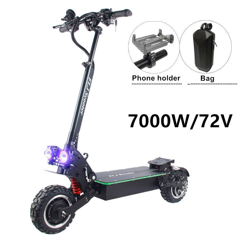 FLJ-patinete eléctrico actualizado de 72V, 7000W, con motor Dual, velocidad superior, neumático...