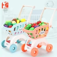 shopping cart kids large supermarket trolley push car toys play role in pretend game basket simulation fruit food pretend play h